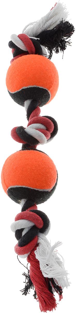Игрушка для собак Каскад Канат. 3 узла + 2 мяча, цвет: черный, оранжевый, длина 35 см0120710Игрушка для собак Каскад Канат. 3 узла + 2 мяча станет любимым предметом для вашего питомца. Игрушка прочная и может выдержать огромное количество часов игры. Это идеальная замена косточке. Также изделие подойдет для бросков и игры в перетягивание. Игрушка представляет собой канат с двумя мячами.Длина игрушки: 35 см.Диаметр мяча: 6 см. Уважаемые клиенты! Обращаем ваше внимание на возможные изменения в цвете деталей товара. Поставка осуществляется в зависимости от наличия на складе.