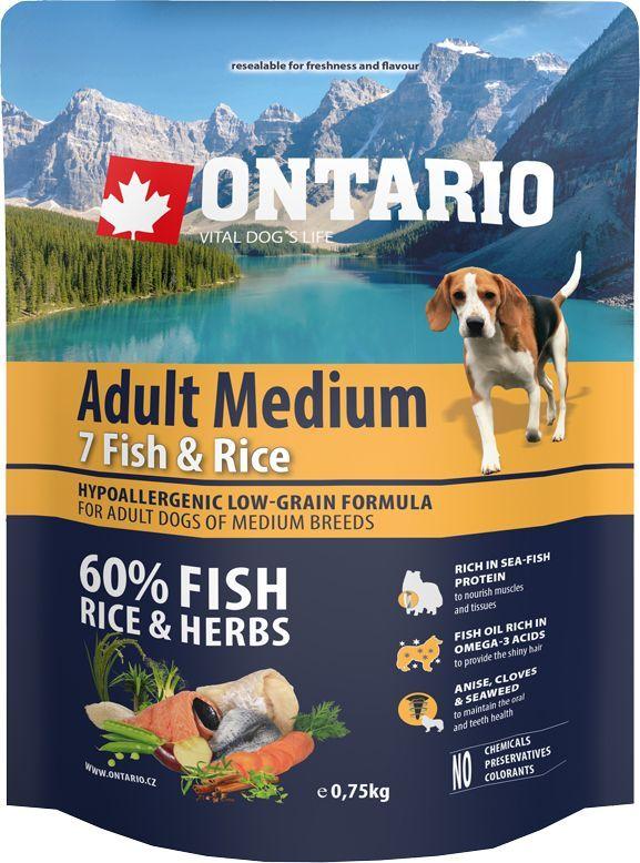 Корм сухой Ontario Adult Medium, для собак, с 7 видами рыбы и рисом, 750 г0120710Гипоаллергенная формула с низким содержанием зерновых для взрослых собак средних пород. Полнорационный корм для собак.Сбалансированный состав для здорового функционирования всего организма. Главным достоинством корма является высокое содержание белка из рыбы, необходимое для развития мышечной ткани и опорно-двигательного аппарата. Пивные дрожжи содержат витамины группы В и ферменты, способствуют росту полезных бактерий в кишечнике. Дрожжи улучшают состояние кожи и шерсти животных.Лососевый жир богат незаменимыми жирными кислотами Омега 3, оказывающими благотворное влияние на все органы и системы организма, особенно на шерсть животных. Омега 3 и Омега 6 жирные кислоты являются важными компонентами для поддержки функций сердца. Яблоки богаты клетчаткой (пектином), способствующей пищеварению и выводящей токсины из кишечника, а также являются источником витаминов и антиоксидантов. Специальная смесь трав и специй, особенно аниса, гвоздики и морских водорослей, способствует поддержанию гигиены полости рта и здоровья зубов.Маннанолигосахариды естественным образом поддерживают работу кишечника и улучшают общее состояние здоровья животных.Фруктоолигосахариды стимулируют рост нормальной микрофлоры кишечника (лакто- и бифидобактерий); подавляют развитие патогенных бактерий, предупреждают возникновение дисбактериоза, улучшают переваривание и поглощение питательных веществ.Рекомендации по кормлению: Давать ком сухим или слегка увлажненным. Всегда обеспечивайте собаке доступ к свежей воде. Количество корма, ежедневно необходимое собаке, зависит от окружающих условий, размера, возраста и уровня активности. Рекомендуемая дневная норма приведена в таблице. Для поддержания надлежащего состояния, следите, чтобы ваша собака была физически активна и не перекармливайте.Состав: дегидрированная морская рыба (сельдь, килька, песчанка, мойва, сардина, треска) (25%), рис (24%), груша, дегидрированный лосось(11%),