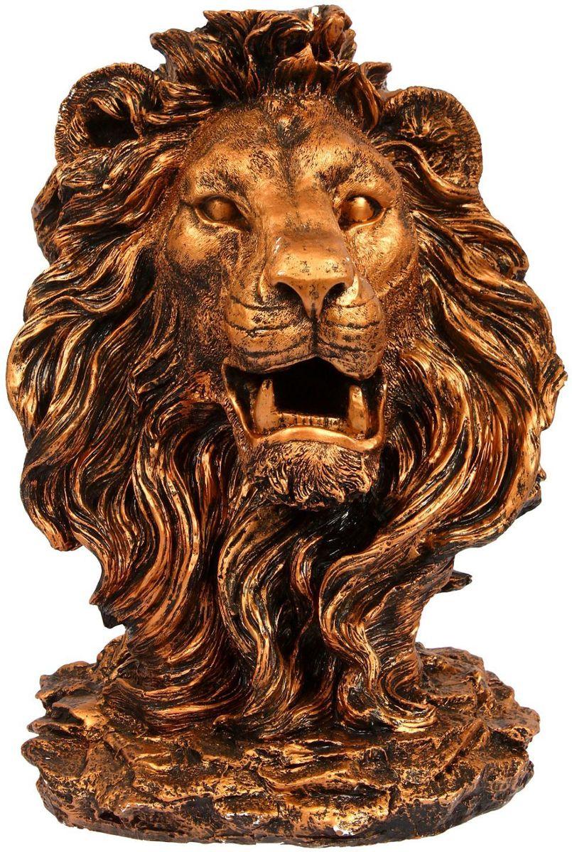 Фигура садовая Голова льва, цвет: медный, 32 х 42 х 70 см09840-20.000.00Создайте настроение в любимом саду: украсьте его оригинальным декором. Изящная фигура в виде льва придаст участку шарм и разнообразит ландшафт.Сделайте свой сад неповторимым. Разрабатывайте собственный дизайн и расставляйте акценты. Хотите привлечь внимание к клумбе? Поставьте садовую фигуру рядом с ней. А расположенная прямо у калитки, она будет приятно удивлять гостей. Такой декор легко замаскирует неприглядные детали на участке.