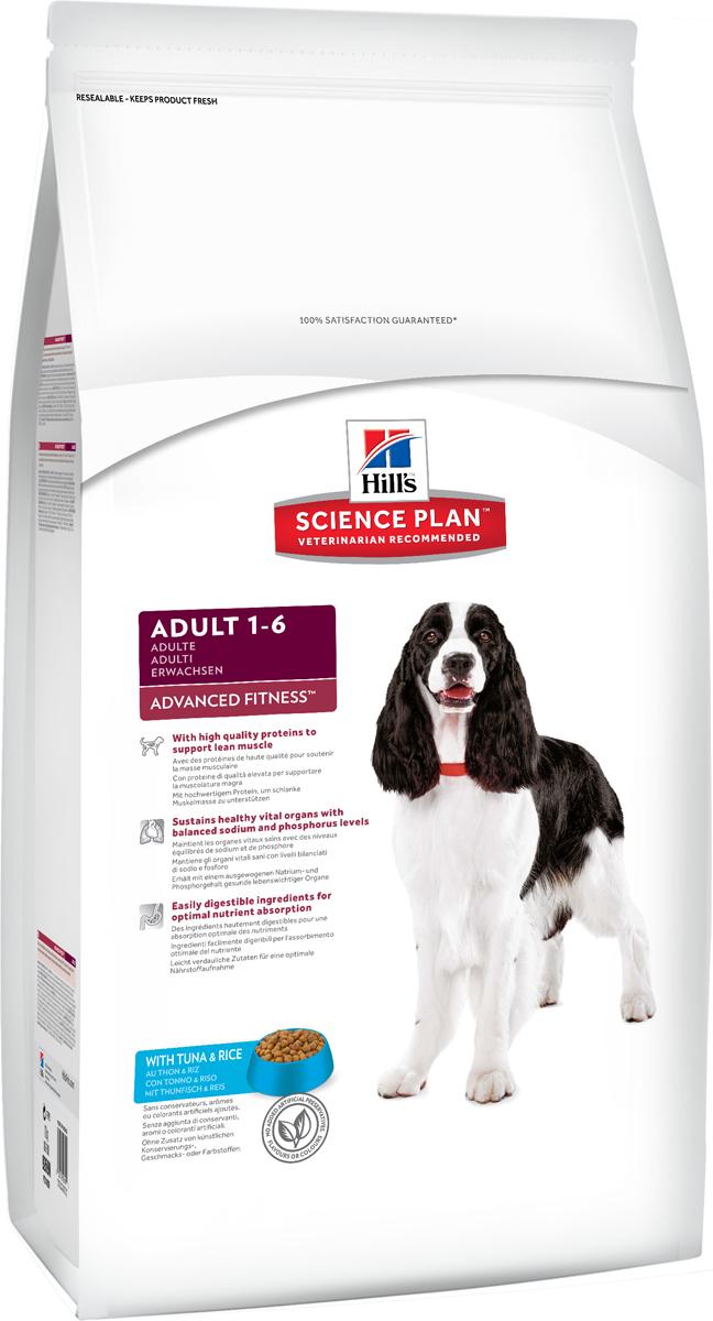 Корм сухой Hills Advanced Fitness для взрослых собак, с тунцом и рисом, 12 кг0120710Сухой корм Hills Science Plan Advanced Fitness Tuna & Rice предназначен для собак от 1 года до 6 лет, мелких и средних пород, умеренно активных. Это полноценное, точно сбалансированное питание, приготовленное из ингредиентов высокого качества, без добавления красителей и консервантов. Рацион Science Plan содержит эксклюзивный комплекс антиоксидантов с клинически подтвержденным эффектом для поддержки иммунной системы вашего питомца. Состав: с тунцом и рисом (минимум 16% тунца, минимум 10% риса), молотая кукуруза, молотый рис, соевая мука, животный жир, мука из тунца, мука из мяса домашней птицы, мука из маисового глютена, гидролизат белка, семя льна, растительное масло, калия цитрат, кальция карбонат, соль, L-лизина гидрохлорид, калия хлорид, таурин, L-триптофан, витамины и микроэлементы. Содержит натуральные консерванты - смесь токоферолов, лимонную кислоты и экстракт розмарина. Среднее содержание нутриентов в рационе: протеины 23%, жиры 15,1%, углеводы 48%, клетчатка (общая) 1,6%, влага 8%, кальций 0,66%, фосфор 0,59%, натрий 0,22%, калий 0,64%, магний 0,11%, омега-3 жирные кислоты 0,61%, омега-6 жирные кислоты 3,07%, медь, витамин А 10200 МЕ/кг, витамин D 485 МЕ/кг, витамин Е 600 мг/кг, витамин С 70 мг/кг, бета-каротин 1,5 мг/кг. Товар сертифицирован.