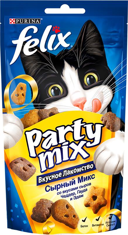 Лакомство для кошек Felix Party Mix Сырный микс, cо вкусами сыров Чеддер, Гауда и Эдам, 60 г0120710Вкусное лакомство Felix Party Mix Сырный Микс cо вкусами сыров чеддер, гауда и эдам - это дополнение к ежедневному рациону, с помощью которого вы можете баловать вашего питомца, когда вам этого хочется. В каждой упаковке вы найдете удивительное сочетание ароматных гранул с восхитительным вкусом и аппетитной текстурой! И это еще не все! Вкусное Лакомство Felix Party Mix содержит белок, витамины и Омега 6 жирные кислоты для того, чтобы помочь вашему питомцу быть счастливым и здоровым. Рекомендации по кормлению: Ежедневная норма кормления для взрослой кошки весом 4 кг: до 15г или примерно до 40 гранул. Обычный ежедневный рацион желательно корректировать в соответствии с количеством используемого лакомства. Свежая питьевая вода всегда должна быть доступна для вашей кошки. Присутствуйте рядом с Вашим питомцем во время кормления Вкусным Лакомством. Состав: мясо и продукты его переработки (35%)*, злаки, жиры и масла, растительный белок, молоко и продукты его переработки (0.5% порошка Чеддер, 0.5% порошка Гауда, 0.4% порошка Эдам)**, минеральные вещества, различные сахара, дрожжи, рыба и продукты ее переработки, консерванты, красители, витамины и антиоксиданты. (*Эквивалентно 50% восстановленного мяса и продуктов его переработки, мин. содержание мяса - 26%), (**Эквивалентно мин. 1% восстановленного сыра Чеддер, мин. 1% восстановленного сыра Гауда, мин. 1% восстановленного сыра Эдам). Добавленные вещества: МЕ/кг: Витамин А: 32 000; Витамин Д: 1 055; Витамин Е: 176; МГ/кг: Железо: 75; Йод: 1.9; Медь: 12; Марганец: 36; Цинк: 140; Селен: 0.12. Гарантируемые показатели: Белок 36.0%; Жир 20.0%; Сырая зола 9.0%; Сырая клетчатка 0.5%; Линолевая кислота (Омега 6) 28 000 мг/кг. Товар сертифицирован.