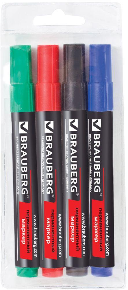 Brauberg Набор маркеров перманентных Contract 4 цвета 15047472523WDМаркеры предназначены для письма на любой поверхности. Фетровый наконечник отличается повышенной износоустойчивостью, а чернила - яркими цветами и хорошей свето- и водоустойчивостью.Ширина линии письма - 3 мм. Круглый износоустойчивый наконечник. В наборе 4 цвета: черный, синий, красный, зеленый. Светоустойчивые и водостойкие чернила. Для письма на любой поверхности. Нестираемые. Упаковка с европодвесом.