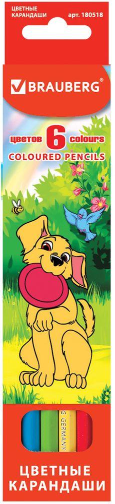 Brauberg Набор цветных карандашей My Lovely Dogs 6 цветов72523WDВ наборе 6 карандашей насыщенных цветов. Изготовлены из древесины ценных пород и оснащены мягким грифелем. Забавные щенки, изображенные на коробке с подвесом, пользуются неизменной любовью у детей дошкольного и младшего школьного возраста.6 цветов. Диаметр грифеля - 3 мм. Высокосортная древесина. Шестигранный корпус. Легко затачиваются. Упаковка - картонная, с европодвесом.