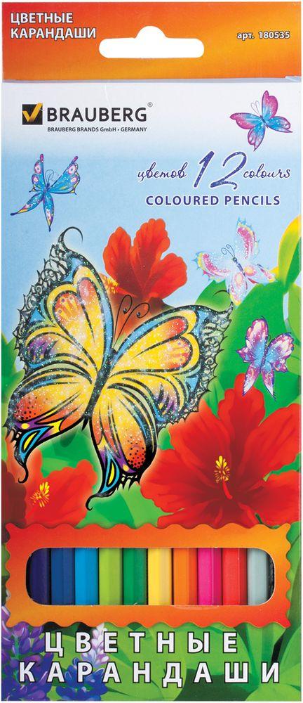 Brauberg Набор цветных карандашей Wonderful Butterfly 12 цветов72523WDВ наборе 12 карандашей ярких цветов. Высокосортная древесина обеспечивает сохранность грифеля, который мягко рисует на бумаге. Красивые бабочки, изображенные на коробке, украшены блесткам, что не оставит равнодушными творческих особ.12 цветов. Диаметр грифеля - 3 мм. Высокосортная древесина. Шестигранный корпус. Легко затачиваются. Упаковка - картонная, с европодвесом и отделкой блестками.
