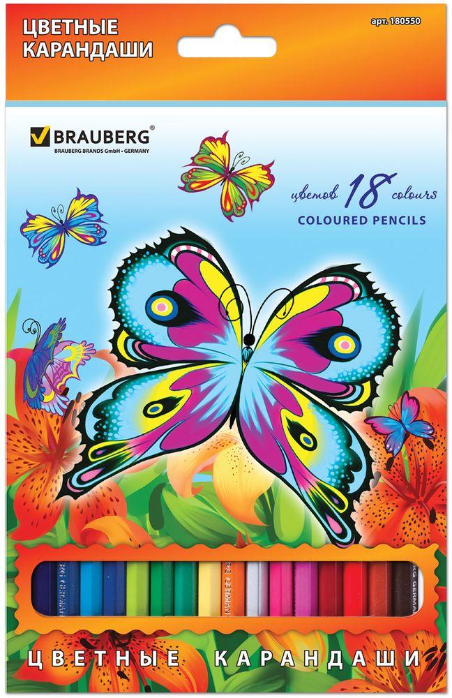 Brauberg Набор цветных карандашей Wonderful Butterfly 18 цветов610842В наборе 18 карандашей ярких цветов. Высокосортная древесина обеспечивает сохранность грифеля, который мягко рисует на бумаге. Красивые бабочки, изображенные на коробке, украшены блесткам, что не оставит равнодушными творческих особ.18 цветов. Диаметр грифеля - 3 мм. Высокосортная древесина. Шестигранный корпус. Легко затачиваются. Упаковка - картонная, с европодвесом и отделкой блестками.