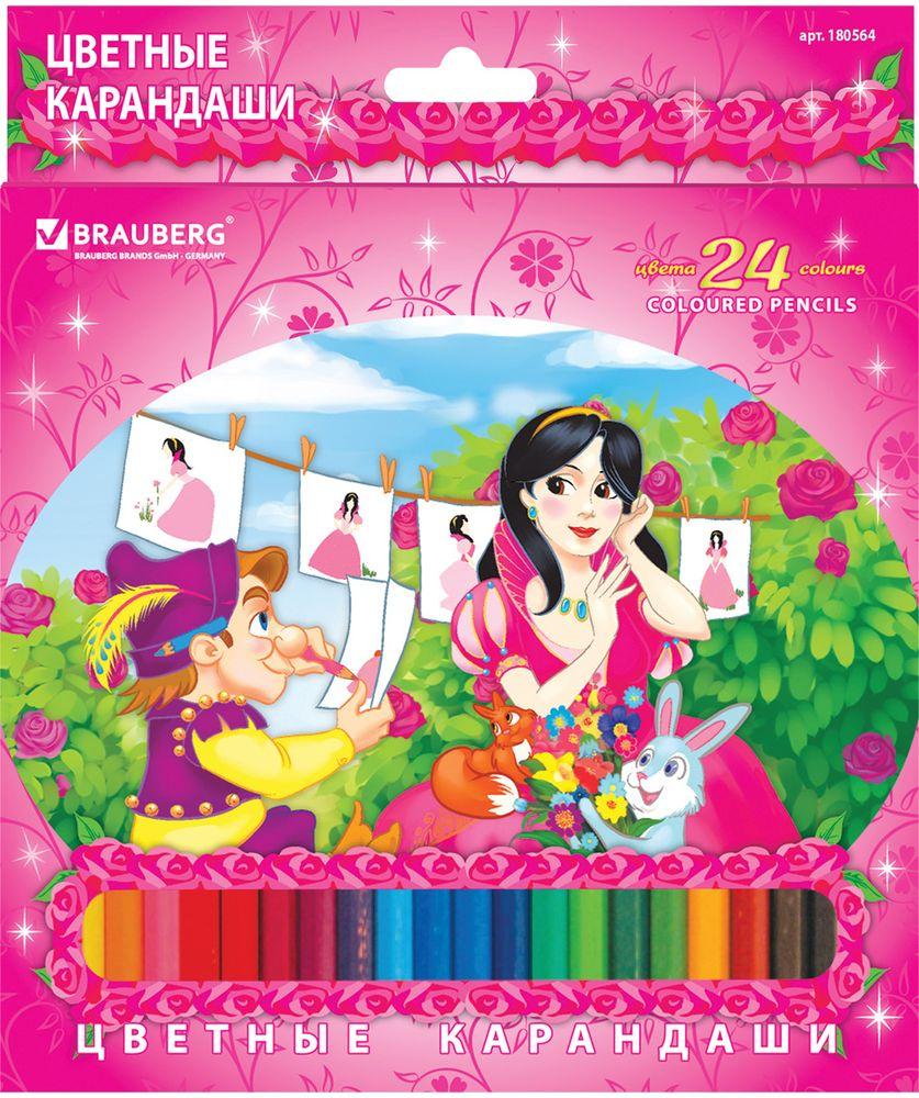 Brauberg Набор цветных карандашей Rose Angel 24 цветаPP-220В набор входят 24 цветных карандаша, изготовленных из древесины 1-го сорта и оснащенных грифелем высокого качества, благодаря которому штрихи мягко и ровно ложатся на бумагу. Яркая упаковка украшена привлекательным изображением сказочной принцессы.24 цвета. Диаметр грифеля - 3 мм. Высокосортная древесина. Шестигранный корпус. Легко затачиваются. Картонная упаковка с европодвесом.