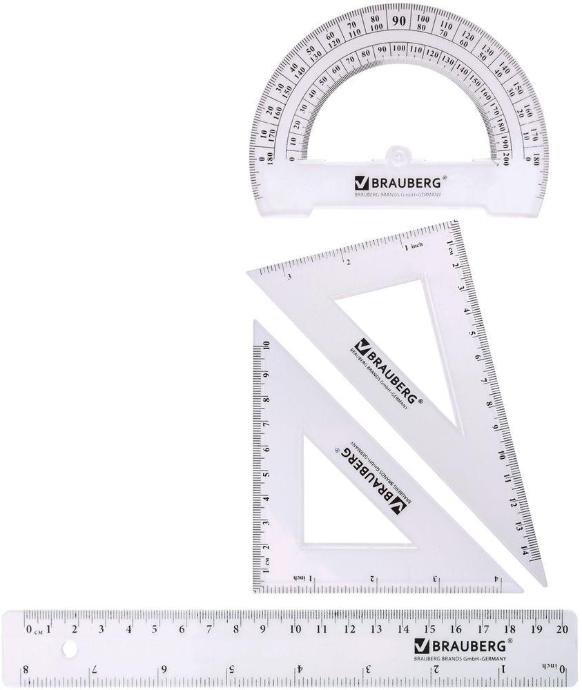 Brauberg Геометрический набор 4 предмета72523WDНабор геометрический из прозрачного прочного пластика толщиной 2 - 2,5 мм. Предназначен для чертёжных работ. Включает четыре предмета: линейка, 2 треугольника, транспортир.•Линейка со шкалами 20 см/8. •Треугольник с углами 30°/60° и шкалами 14,5 см/3. •Треугольник с углами 45°/45° и шкалами 10 см/4. •Транспортир 180°. •Удобная упаковка - пенал на молнии, с европодвесом.