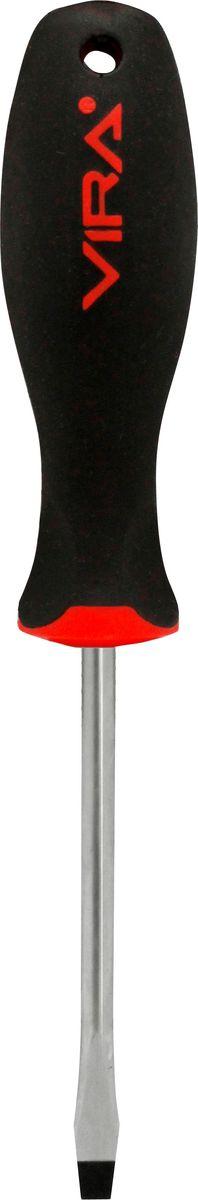 Отвертка Vira, SL6,5 х 150 мм. 3911345104Отвертка SL6,5х150мм, CR-V, эргономичная двухкомпонентная ручка 391134, предназначена для монтажа и демонтажа резьбовых соединений. Данная серия отверток стала самой популярной в линейке инструментов VIRA не случайно - ее простота и удобство сочетается с высоким качеством и прочностью стержня. Она превосходно справляется с любыми нагрузками, прекрасно подойдет как для профессионального использования, так и для решения бытовых задач. Наконечник намагничен для того, чтобы облегчить работу с мелкими деталями. Инструмент выполнен в уникальном дизайне и обладает неповторимой формой, идеально подходящей для любого типа кисти. Эргономичная ручка не только удобно лежит в руке, но еще и обеспечивает высокий крутящий момент, а антискользящее покрытие помогает крепко удерживать инструмент в любых рабочих условиях. Рукоятка отвертки оснащена дополнительным отверстием, используемое для воротка в случае, если необходимо приложить дополнительные усилия.