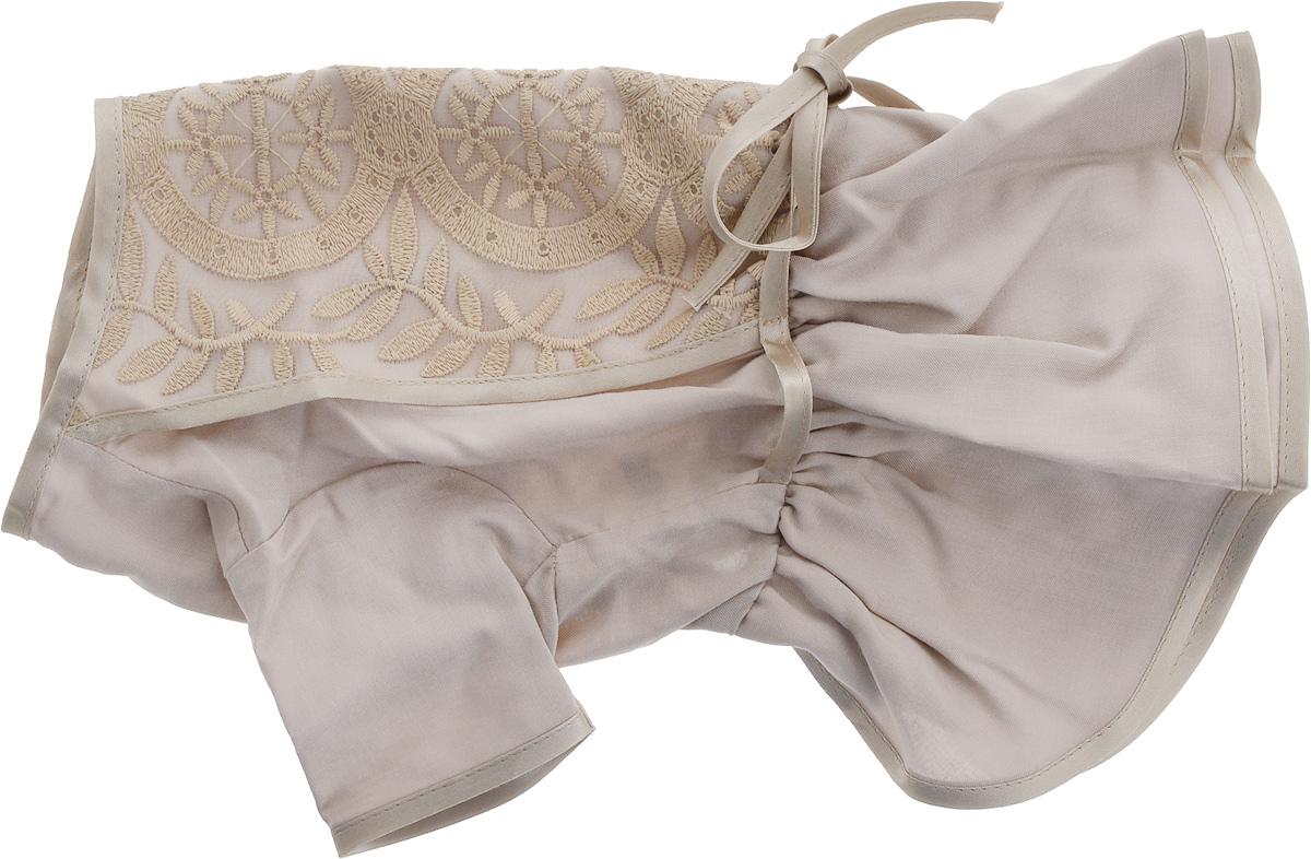 Платье для собак GLG LOVE, цвет: бежевый. Размер L0120710Платье для собак GLG LOVE выполнено из высококачественного текстиля и оформлено декоративными вышивками. Короткие рукава не ограничивают свободу движений, и собачка будет чувствовать себя в ней комфортно. Изделие застегивается с помощью кнопок на спине.Модное и невероятно удобное платье защитит вашего питомца от пыли и насекомых на улице, согреет дома или на даче. Длина спины: 28-30 см Объем груди: 43-45 см.