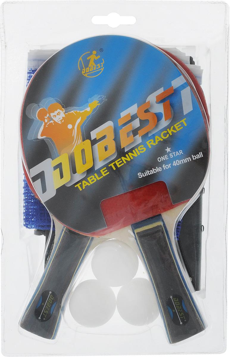 Набор для настольного тенниса Dobest, 7 предметовWRA523700Набор Dobest включает в себя 2 ракетки, 3 мячика, сетку и крепеж.Настольный теннис - спортивная игра, основанная на перекидывании мяча ракетками через игровой стол с сеткой. Цель игры - не дать противнику отбить мяч. Игра в настольный теннис развивает концентрацию внимания, ловкость и координацию. Размер ракетки: 26 х 15 см. Длина ручки: 10 см. Диаметр мяча: 3,8 см.