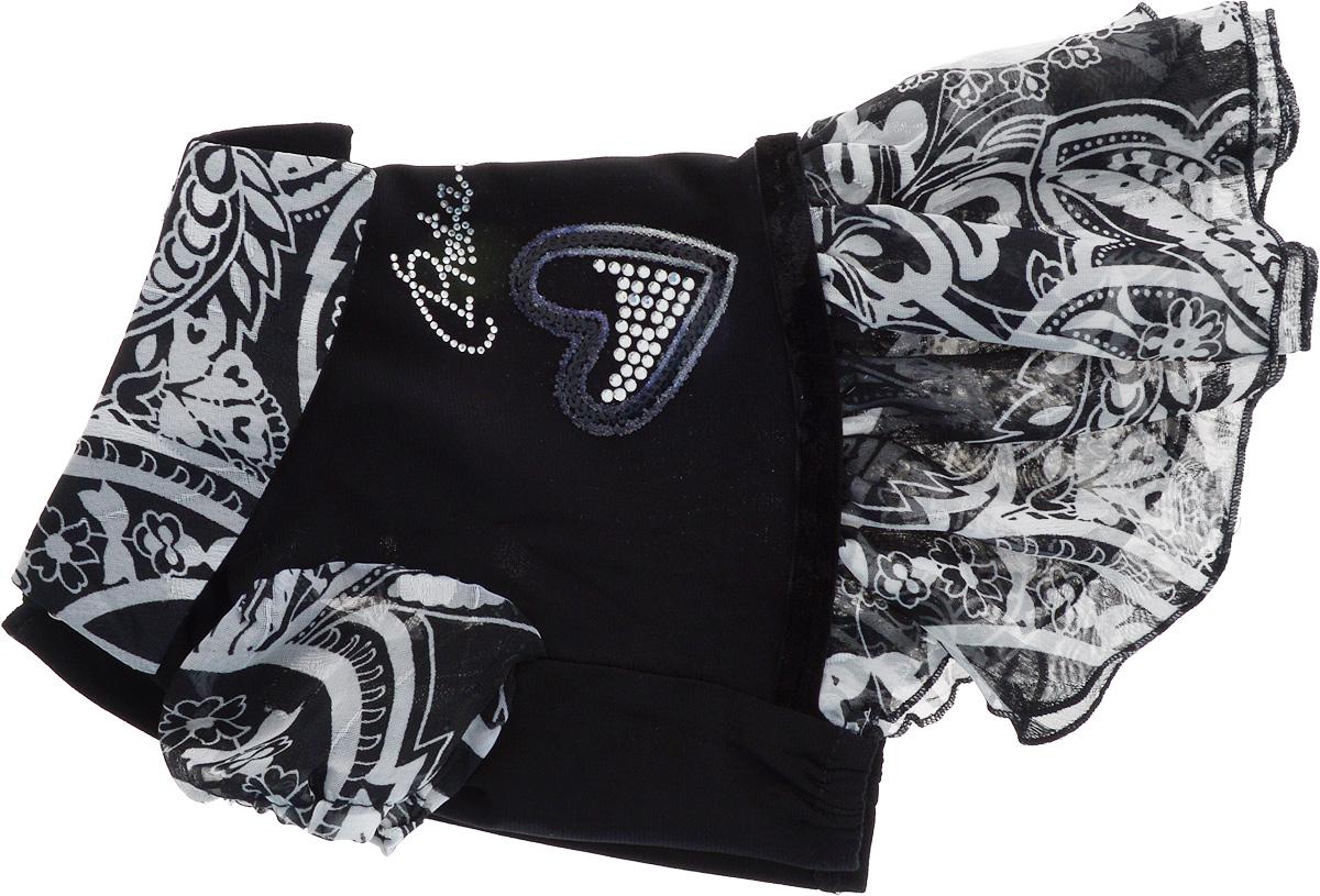 Платье для собак GLG Сердечко, цвет: черный. Размер S0120710Платье для собак GLG LOVE выполнено из высококачественного текстиля и оформлено декоративными вышивками. Короткие рукава не ограничивают свободу движений, и собачка будет чувствовать себя в ней комфортно. Изделие застегивается с помощью кнопок на спине.Модное и невероятно удобное платье защитит вашего питомца от пыли и насекомых на улице, согреет дома или на даче. Длина спины: 23-25 см Объем груди: 31-33 см.