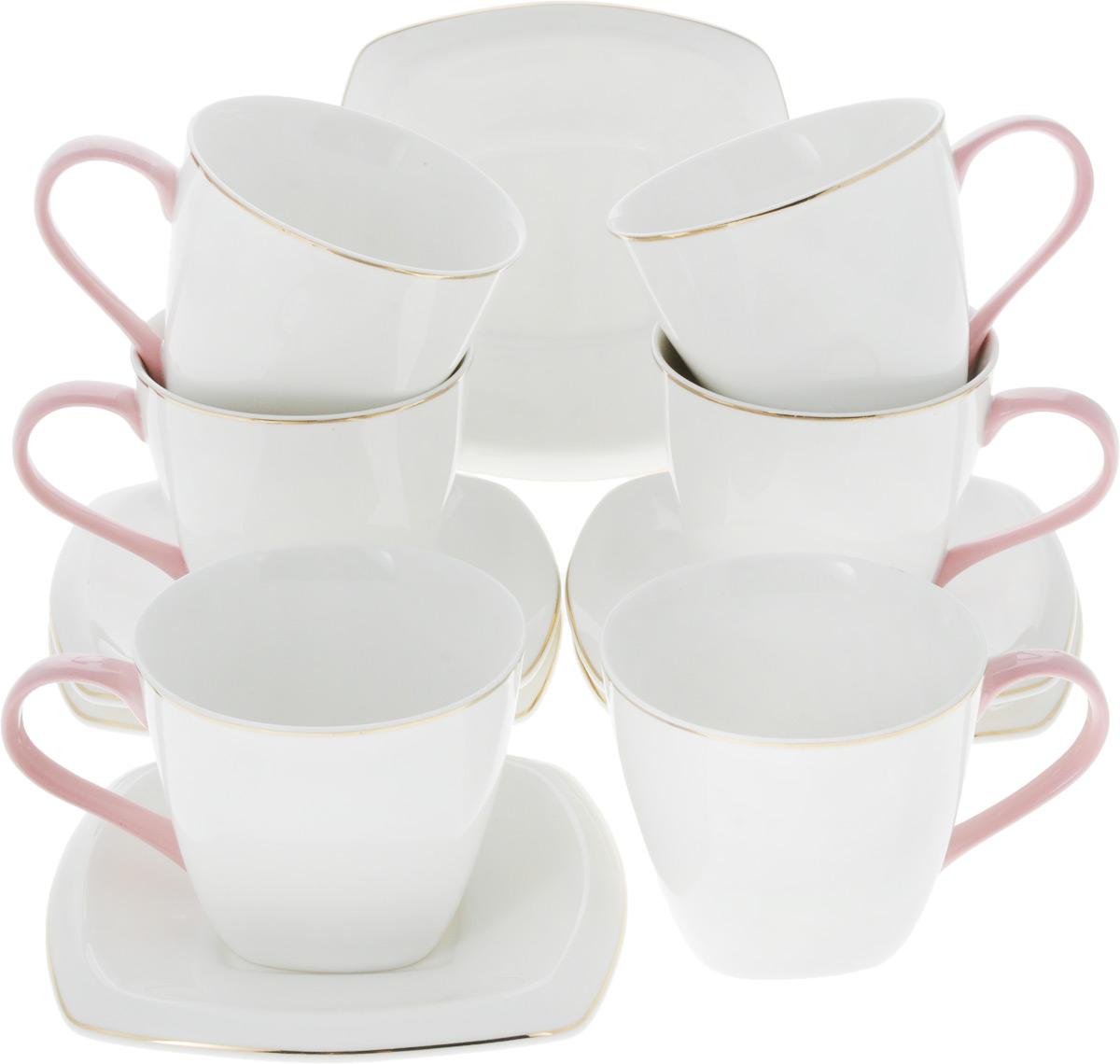 Сервиз чайный Loraine Нежность, 12 предметов. 26641115510Чайный сервиз Loraine на 6 персон выполнен из высококачественного костяного фарфора - материала, безопасного для здоровья и надолго сохраняющего тепло напитка. В наборе 6 чашек и 6 блюдец. Несмотря на свою внешнюю хрупкость, каждый из предметов набора обладает высокой прочностью и надежностью. Элегантный классический дизайн с тонкой золотой каймой делает этот набор прекрасным украшением любого стола. Ручки чашек выполнены в розовом цвете.Набор аккуратно упакован в подарочную коробку, поэтому его можно преподнести в качестве оригинального и практичного подарка для своих родных и самых близких. Объем чашки: 220 мл. Диаметр чашки (по верхнему краю): 8,5 см. Высота чашки: 7 см. Размер блюдца: 13 х 13 см.