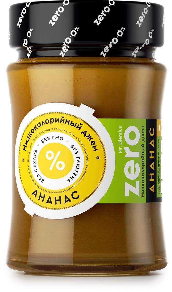 """Всеми любимый вкус ярко выражен в нашем джеме, который приготовлен исключительно из спелых свежих фруктов, имеющих отличный жиросжигающий эффект. Mr. Djemius Zero """"Ананас"""" идеально подойдет к выпечке или в прикуску с зеленым чаем, к кефиру или творогу и даже к блюдам из курицы."""