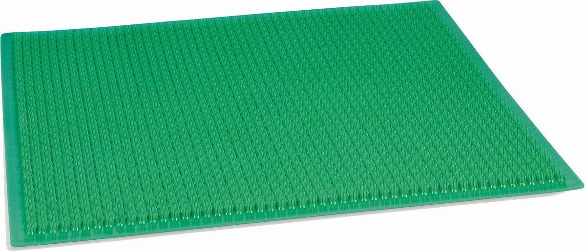 Настил садовый Травка, цвет: темно-зеленый, 38, 5 х 58,5 см09840-20.000.00Ковровое покрытие «Травка» — идеальное решение для защиты помещения от влаги, частиц песка и грязи, приносимых на обувных подошвах.Оно изготовлено из безопасного первичного полиэтилена. Изделие имеет плотную подложку из нетканого материала, что значительно повышает срок службы. Загибание углов в процессе эксплуатации полностью исключается. «Травка» также обладает отличными противоскользящими характеристиками.Ворс ковриков не осыпается, а само покрытие не распускается даже при разрезании. Высота щетины — от 12 до 14 мм.Грязь легко смывается струёй тёплой воды, а пыль удаляется встряхиванием или пылесосом, благодаря чему привлекательный внешний вид сохраняется надолго.Зоны применения: входные группы и коридоры, входы в квартиры, подъезды, офисные помещения.Температурный диапазон, при котором возможно использование изделия: от ?40 до +50 °С.