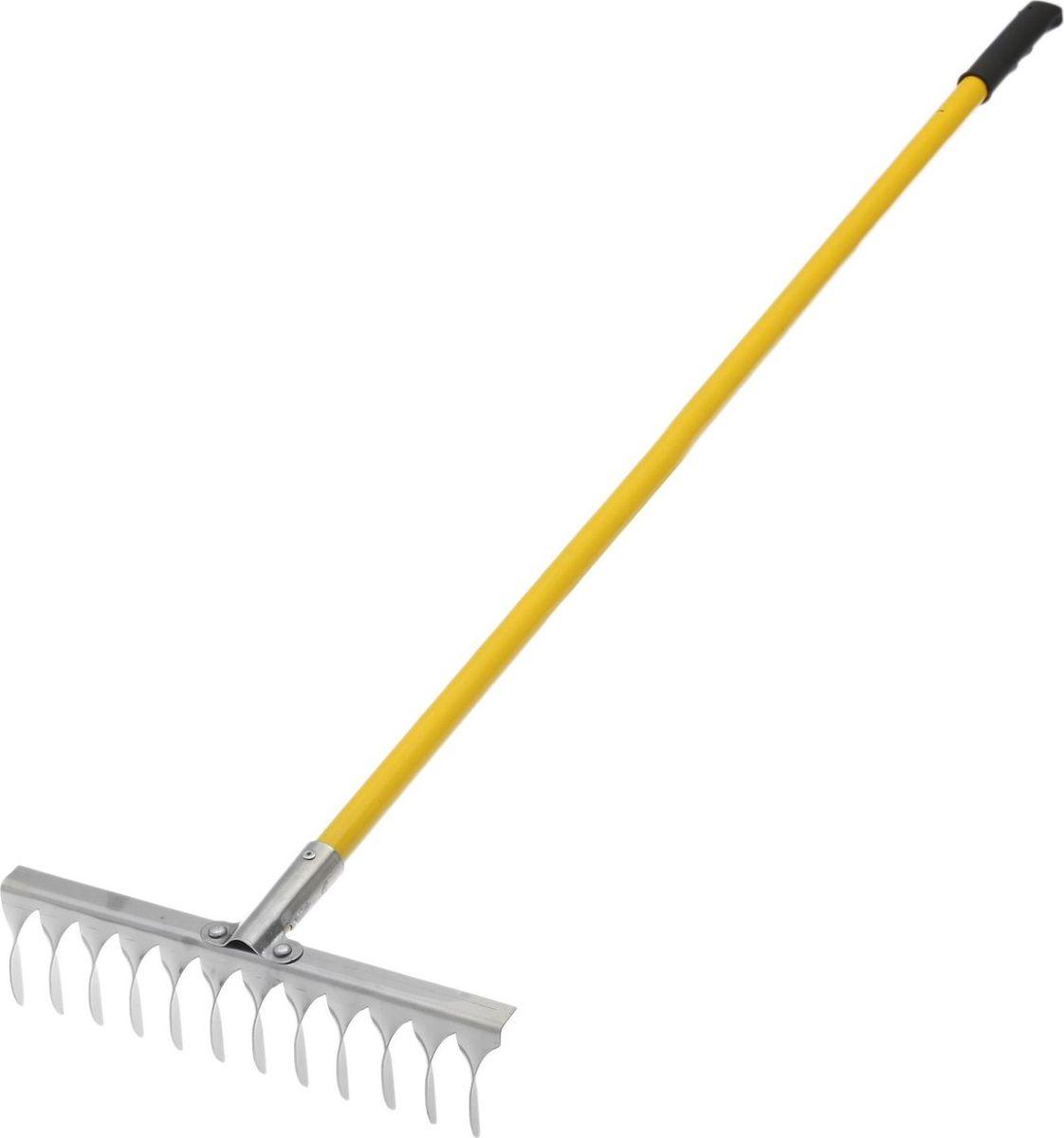 Грабли, с черенком, с витым зубом, длина 134 см531-401Грабли подходят для наведения порядка на участке, вычёсывания травы, сбора опавших листьев. Металлические зубцы из нержавеющей стали разровняют даже тяжёлую влажную почву, разобьют большие комки земли.По окончании использования очистите рабочую часть инструмента от остатков грунта. Храните в закрытом помещении.В комплект входит прочный яркий металлический черенок.
