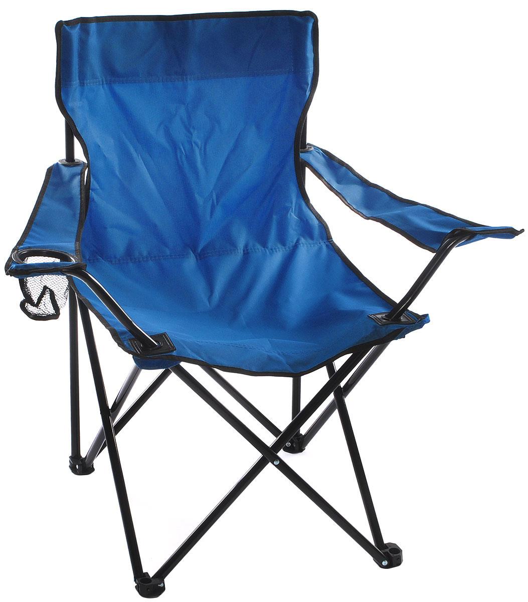 Кресло складное Wildman, с подлокотником, цвет: синий, 77 х 50 х 80 см09840-20.000.00На складном кресле Wildman можно удобно расположиться в тени деревьев, отдохнуть в приятной прохладелетнего вечера.В использовании такое кресло достойно самых лучших похвал. Кресло выполнено из прочной ткани оксфорд, каркас стальной. Кресло оснащено удобными подлокотниками, в одном из них расположен подстаканник. В сложенном виде кресло удобно для хранения и переноски.В комплекте чехол для переноски и хранения.