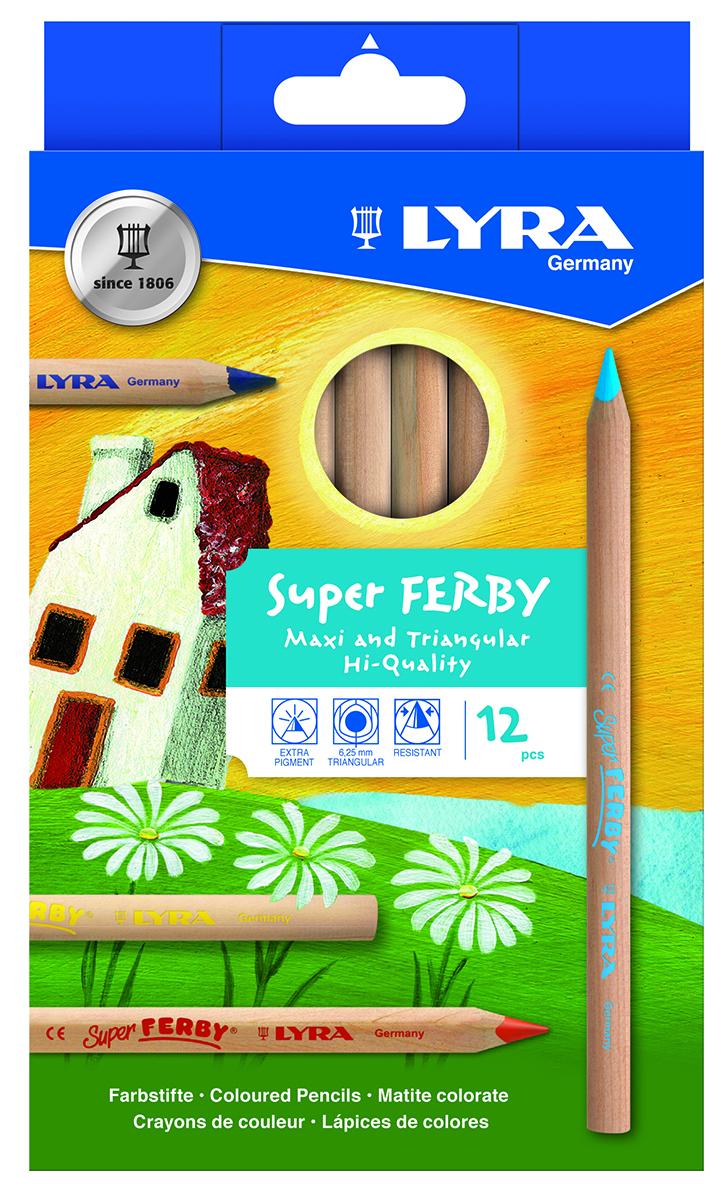 Lyra Набор цветных карандашей Ferby Nature 12 цветов610842Высокопигментные деревянные цветные карандаши, 12 шт. Эргономичная треугольная форма. Длина карандаша - 175 мм, диаметр грифеля 6,25 мм. Произведены из натуральной сертифицированной древесины, не лакированные. Ударопрочные.