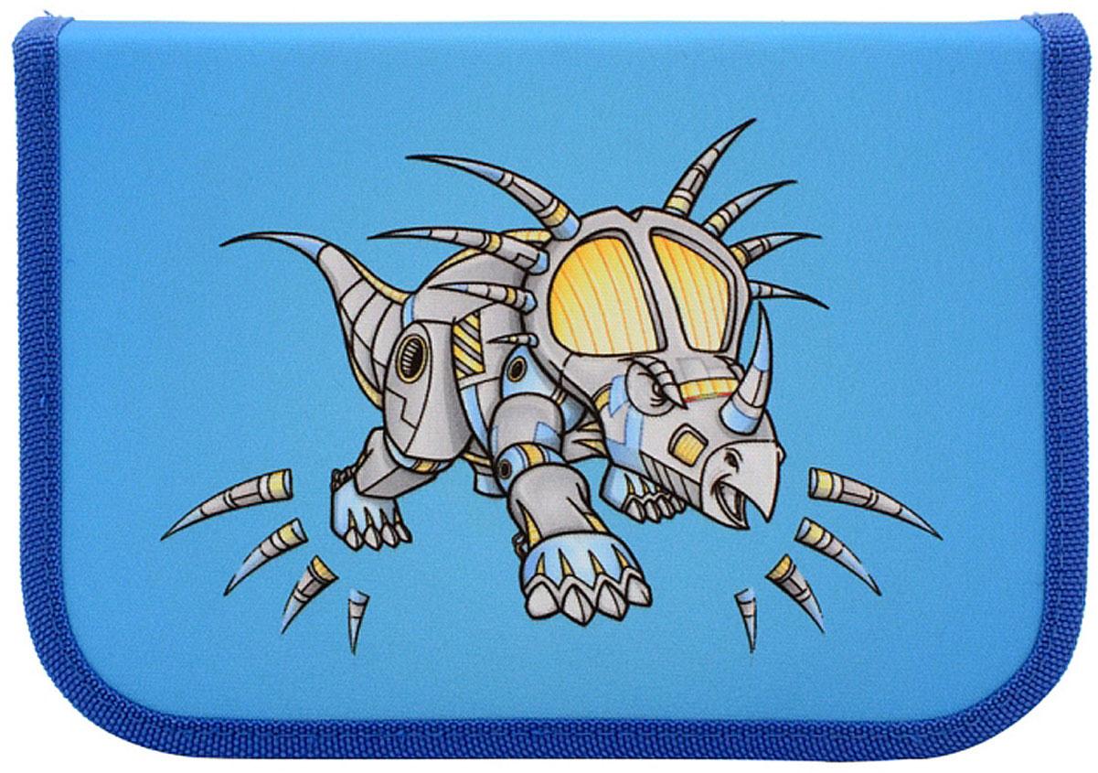 Action! Пенал Action by Tiger Драконы цвет светло-синий с наполнением 16 предметов72523WDЭксклюзивный дизайн Action! для мальчиков. Дизайн с двух сторон. 1 отделение на молнии. Размер: 19.5 x 3 x 13.5 см. 16 предметов: 4 цветных карандаша, 4 фломастера, 1 чернографитный карандаш, 1 ластик, 1 точилка, 1 линейка, 1 блокнот, 3 пластиковые скрепки.