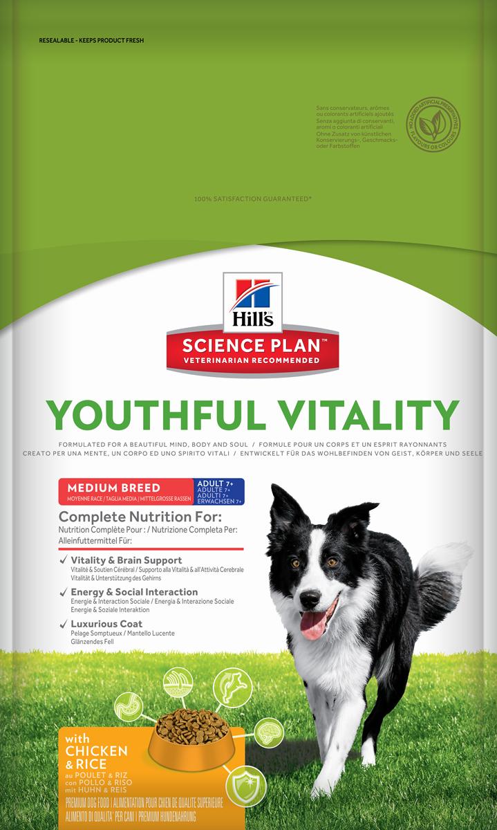 Корм сухой Hills Youthful Vitality, для пожилых собак старше 7 лет средних пород, с курицей и рисом, 10 кг0120710Полноценное повседневное питание, разработанное на основе достижений науки и соответствующее возрасту, размеру породы вашего питомца и его индивидуальным особенностям.Каждая гранула рационов Hill's Science Plan содержит необходимый набор нутриентов, способных улучшить жизнь питомца и сделать его здоровым и счастливым на долгие годы.- Гарантия 100% качества, консистенции и вкуса.- Содержит клинически подтвержденные антиоксиданты, которые нейтрализуют свободные радикалы и поддерживают иммунитет.- Изготовлено из высококачественных натуральных ингредиентов.- Не содержит искусственных красителей, ароматизаторов и консервантов.- Превосходный вкус, который понравится вашему питомцу.Изготовлен в Европе. Science Plan Youthful Vitality разработан с применением передовых технологий науки о питании, рацион, помогающий бороться с признаками старения вашей собаки в возрасте старше 7 лет. Инновационная запатентованная рецептура с жирными кислотами и антиоксидантами, включая витамины С + Е, позволяет противостоять процессам старения на клеточном уровне. Уже более десяти лет в Хиллс Пет Нутришн изучают влияние питания на функции клеток домашних животных и установили, что процесс старения сложен и включает совокупность факторов, приводящих к снижению физических и умственных способностей животных. Сбалансированное питание поддерживает питомцев и их клетки в процессе старения. Ключевые преимущества рациона. Инновационная запатентованная формула Science Plan Youthful Vitality разработана с использованием ингредиентов, помогающих поддерживать: - Активность функции головного мозга.- Энергию и активность.- Роскошную шерсть. - Здоровье иммунной системы.- Здоровье пищеварительной системы.- Поддержка суставов и подвижности.Показания. Собакам мелких, миниатюрных и средних пород (весом менее 25кг), предпочитающих гранулы маленького размера в возрасте старше 7 лет.Противопоказания. Не