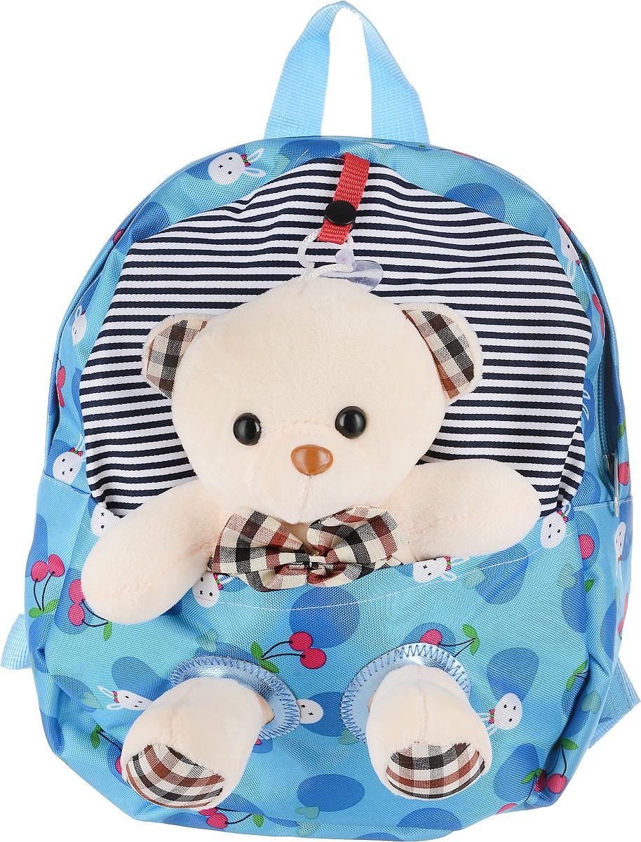 Рюкзак детский Good Mood, цвет: голубой. 736BP-001 BKЯркий детский рюкзак с игрушкой GOOD MOOD изготовлен специально для детей дошкольного возраста. Рюкзак оснащен регулируемыми лямками, плотной спинкой и украшен игрушкой в виде Мишки.Игрушка легко снимается и может использоваться отдельно от рюкзака. Мишка станет настоящим другом вашего малыша, доставляя при этом ему массу положительный эмоций. Рюкзак идеально подойдет для похода в садик, на прогулку, в гости и т.д. Состав: 100% хб, подкладка-100% полиэстер, игрушка-100% полиэстер Цвет: Голубой Для детей от 3 лет. Количество отделений : 1 Оригинальный дизайн