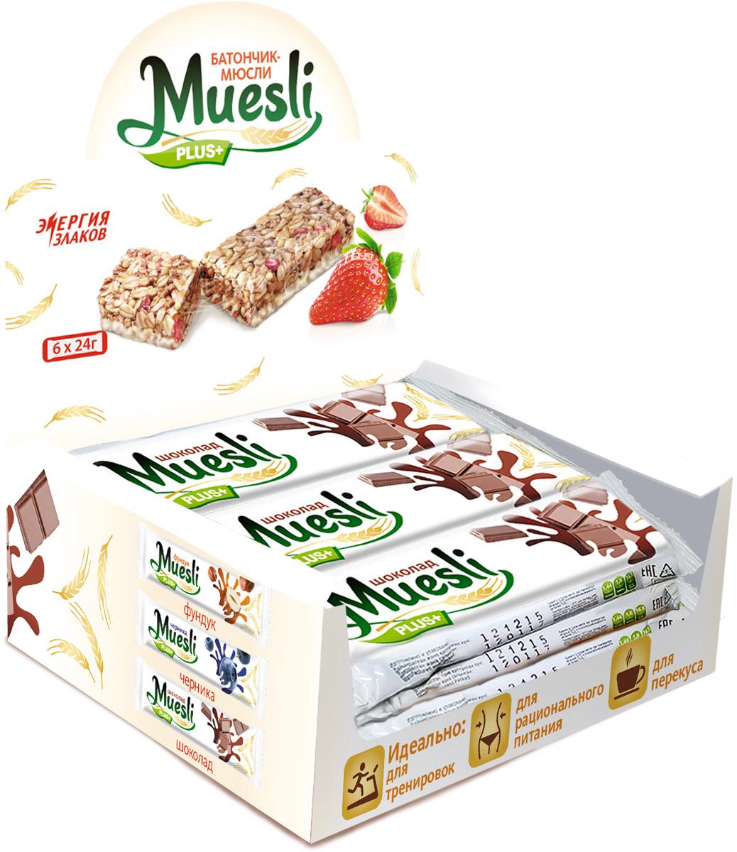 Matti Muesli Plus батончик мюсли шоколад, 6 х 24 г0120710Батончики-мюсли Muesli Plus+ обладают сбалансированным составом и являются продуктом переработки натуральных злаков, здоровым и полезным источником сил и энергии. В состав входит натуральный ароматизатор. Без ГМО, красителей, консервантов.