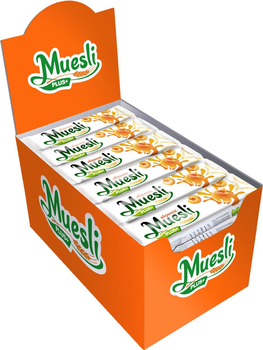 Matti Muesli Plus батончик мюсли абрикос, 36 х 24 г0120710Батончики-мюсли Muesli Plus+ обладают сбалансированным составом и являются продуктом переработки натуральных злаков, здоровым и полезным источником сил и энергии. Содержат злаки, натуральные кусочки абрикоса. Без ГМО, красителей, консервантов. В состав входит натуральный ароматизатор.