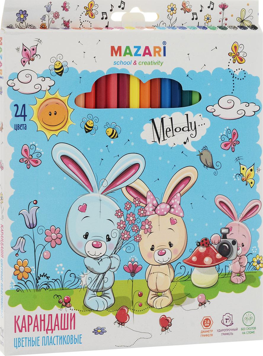 Mazari Набор цветных карандашей Melody 24 цвета72523WDКарандаши цветные Mazari Melody предназначены для письма, рисования и черчения.Карандаши имеют шестигранную форму, диаметр грифеля - 2,6 мм.В наборе 24 карандаша ярких цветов.Уважаемые клиенты! Обращаем ваше внимание на возможные изменения в дизайне упаковки. Качественные характеристики товара остаются неизменными. Поставка осуществляется в зависимости от наличия на складе.