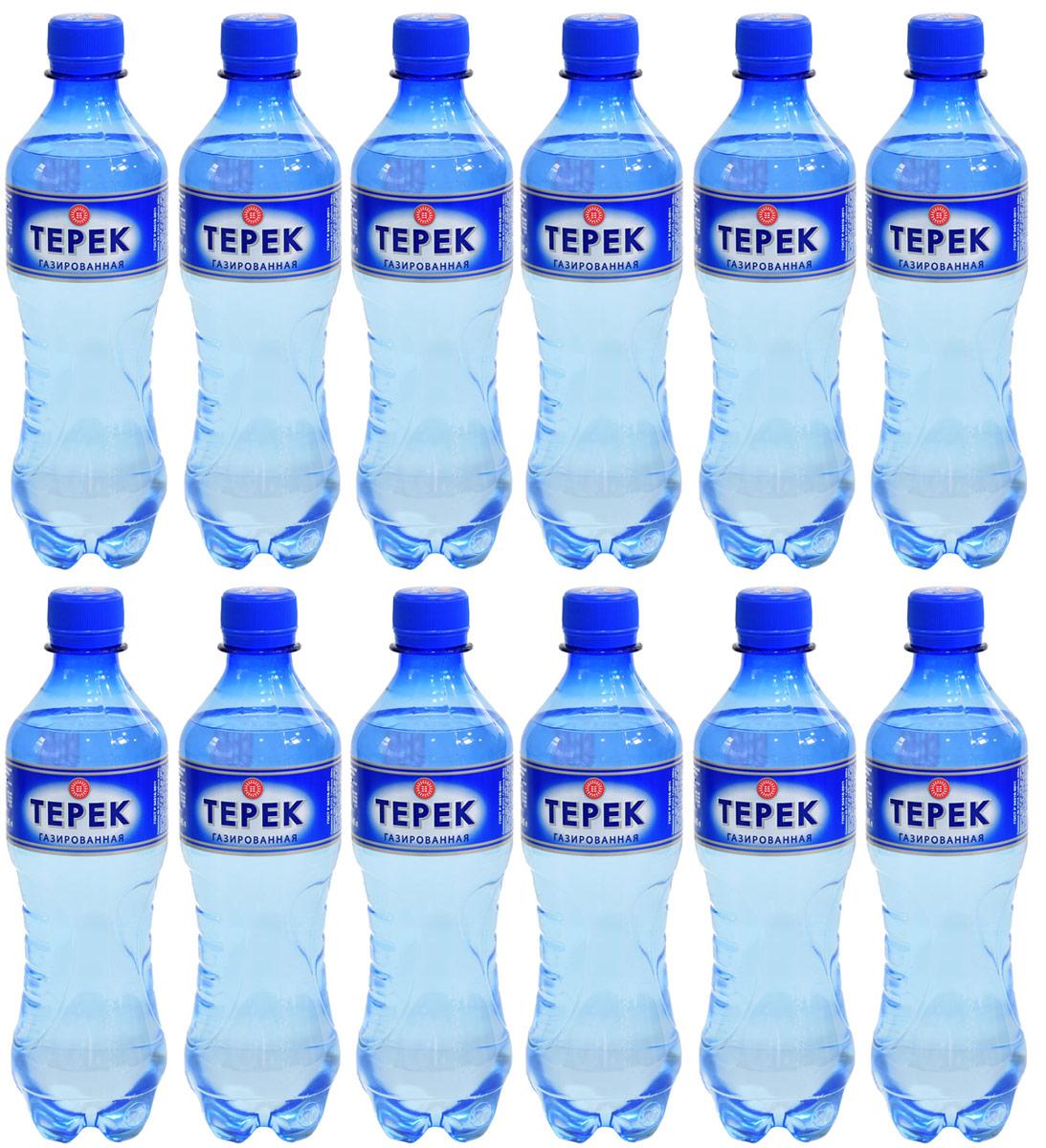 Терек вода минеральная газированная, 12 шт по 0,5 л0120710Натуральная минеральная столовая вода имеет природное происхождение. По микроэлементному составу полностью идентична хлоридно-гидрокарбонатным минеральным водам Кавказа. Рекомендована к регулярному использованию для питья и приготовления пищи. Не содержит каких либо вредных и токсичных элементов, способствует очищению организма от шлаков, улучшает обмен веществ, повышает иммунитет. Скважина № 81214, глубина 260 метров.