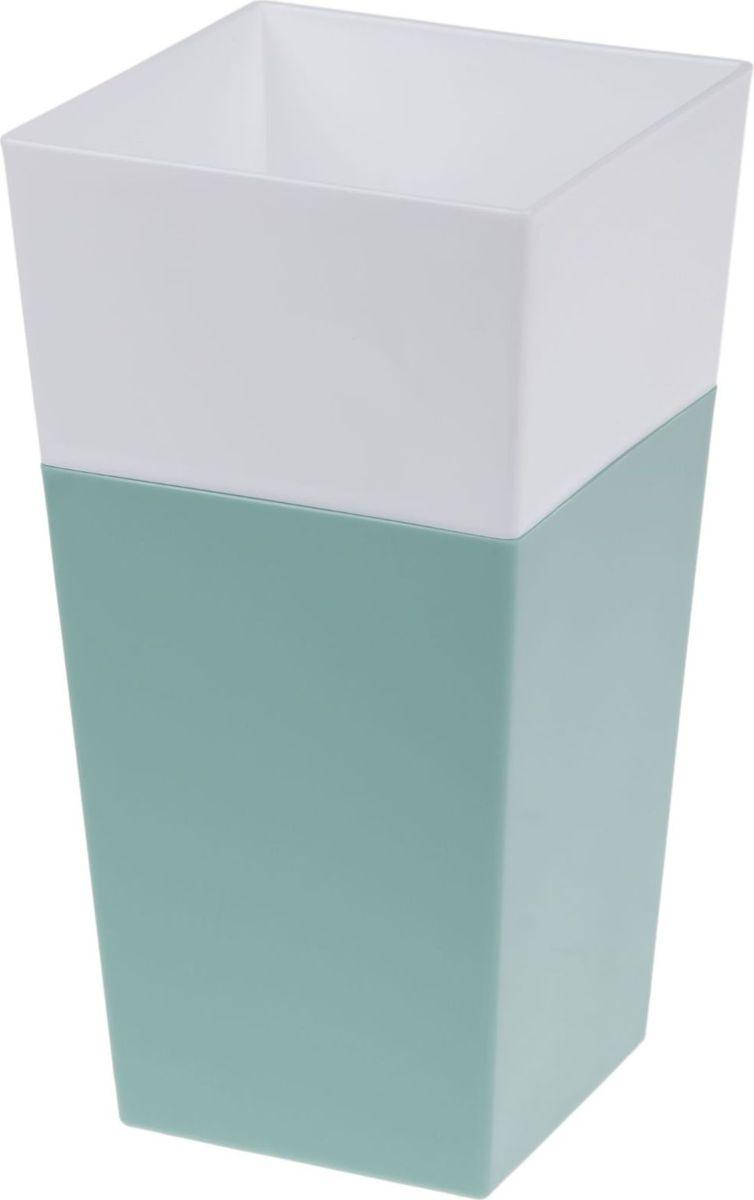Кашпо JetPlast Дуэт, цвет: нефрит, белый, высота 26 смZ-0307Кашпо имеет строгий дизайн и состоит из двух частей: верхней части для цветка и нижней – поддона. Конструкция горшка позволяет, при желании, использовать систему фитильного полива, снабдив горшок веревкой. Оно изготовлено из прочного полипропилена (пластика).Размеры кашпо: 13 x 13 x 26 см.