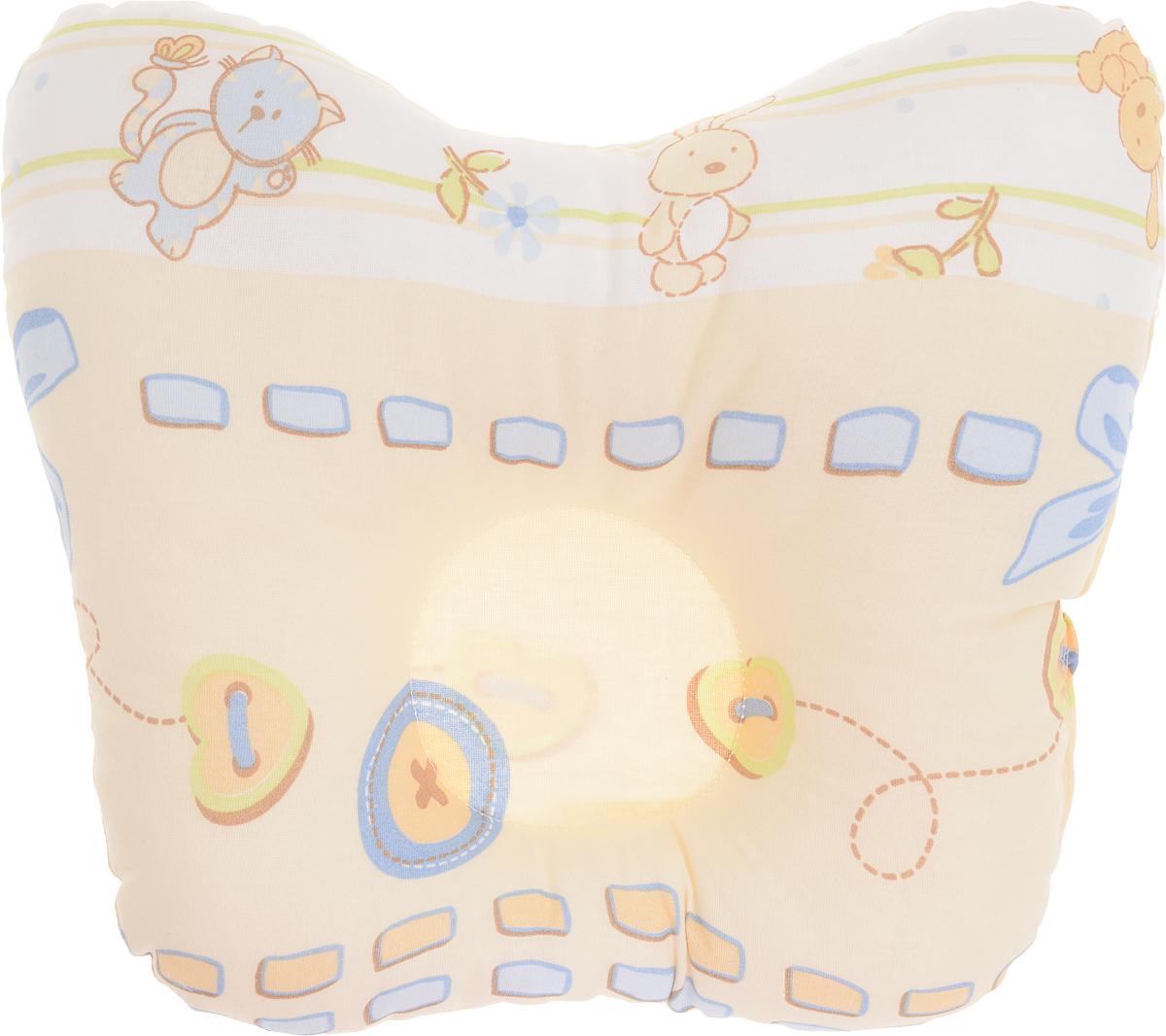 Сонный гномик Подушка анатомическая для младенцев Заяц и кот цвет желтый 27 х 25 смS03301004Анатомическая подушка для младенцев Сонный гномик Заяц и кот компактна и удобна для пеленания малыша и кормления на руках, она также незаменима для сна ребенка в кроватке и комфортна для использования в коляске на прогулке. Углубление в подушке фиксирует правильное положение головы ребенка.Подушка помогает правильному формированию шейного отдела позвоночника.