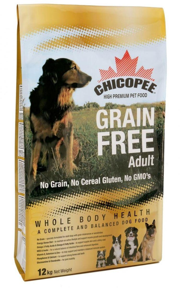 Корм сухой Chicopee Grain Free для взрослых собак с пищевой аллергией или слабым пищеварительным трактом, беззерновой, 12 кг0120710Собака, страдающая пищевой аллергией или слабым пищеварительным трактом, нуждается в полноценном и сбалансированном питании, не содержащим аллергена — вещества, которое вызывает неприятные симптомы болезни. Именно в таких случаях, для собак идеально подойдёт беззерновой корм Chicopee.Как следует из названия, беззерновой корм для собак всех пород не содержит злаков, но имеет в своем составе альтернативный источник углеводов — сушёный горох и картофель. Таким образом, исключенный из рациона продукт, вызывающий аллергию или сложности с пищеварением, восполняется ингредиентом, равноценным по питательной ценности и пищевым качествам.Главные преимущества беззернового рациона Chicopee:Отсутствие глютена (протеина, содержащегося в злаках), который разрушает ворсинки в тонком кишечнике собаки, приводя к недостаточному впитываю питательных веществ.Сушеный горох и пульпа сахарной свеклы, содержащиеся в корме, являются полноценными источниками растительного белка, а также богаты пищевыми волокнами, витаминами и минеральными веществами, улучшающими работу ЖКТ.Значительное содержание животных белков обеспечивает длительное чувство сытости у собаки и поддержание ее физической формы за счет увеличения мышечной массы и усиления защитных функций организма.Маннановые олигосахариды и инулин улучшают баланс кишечной микрофлоры и всасываемости питательных веществ, в результате нормализуется работа всей пищеварительной системы.Так же благодаря пивным дрожжам и рыбьему жиру улучшается состояние кожи животного, восстанавливается его шерстный покров, волосы при этом становятся более крепкими и блестящими.Ингредиенты: мука из мяса домашней птицы, картофельная мука, сушеный горох, жир домашней птицы, свекловичный жом, яичный порошок, рыбная мука, гидролизат белка, рыбий жир, сухие дрожжи, поваренная соль, корень цикория (инулин 0.10%), дрожжевой экстракт (МОS 0.10%