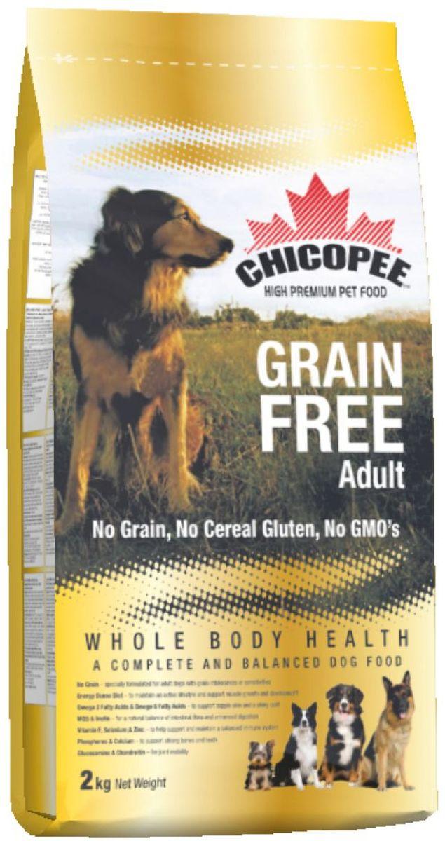 Корм сухой Chicopee Grain Free для взрослых собак с пищевой аллергией или слабым пищеварительным трактом, беззерновой, 2 кг0120710Собака, страдающая пищевой аллергией или слабым пищеварительным трактом, нуждается в полноценном и сбалансированном питании, не содержащим аллергена — вещества, которое вызывает неприятные симптомы болезни. Именно в таких случаях, для собак идеально подойдёт беззерновой корм Chicopee.Как следует из названия, беззерновой корм для собак всех пород не содержит злаков, но имеет в своем составе альтернативный источник углеводов — сушёный горох и картофель. Таким образом, исключенный из рациона продукт, вызывающий аллергию или сложности с пищеварением, восполняется ингредиентом, равноценным по питательной ценности и пищевым качествам.Главные преимущества беззернового рациона Chicopee:Отсутствие глютена (протеина, содержащегося в злаках), который разрушает ворсинки в тонком кишечнике собаки, приводя к недостаточному впитываю питательных веществ.Сушеный горох и пульпа сахарной свеклы, содержащиеся в корме, являются полноценными источниками растительного белка, а также богаты пищевыми волокнами, витаминами и минеральными веществами, улучшающими работу ЖКТ.Значительное содержание животных белков обеспечивает длительное чувство сытости у собаки и поддержание ее физической формы за счет увеличения мышечной массы и усиления защитных функций организма.Маннановые олигосахариды и инулин улучшают баланс кишечной микрофлоры и всасываемости питательных веществ, в результате нормализуется работа всей пищеварительной системы.Так же благодаря пивным дрожжам и рыбьему жиру улучшается состояние кожи животного, восстанавливается его шерстный покров, волосы при этом становятся более крепкими и блестящими.Ингредиенты: мука из мяса домашней птицы, картофельная мука, сушеный горох, жир домашней птицы, свекловичный жом, яичный порошок, рыбная мука, гидролизат белка, рыбий жир, сухие дрожжи, поваренная соль, корень цикория (инулин 0.10%), дрожжевой экстракт (МОS 0.10%)