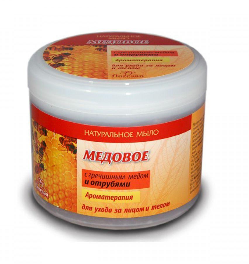 """Floresan Натуральное мыло для ухода за лицои и телом """"Медовое"""" с гречишным медом и отрубями, 450 мл"""