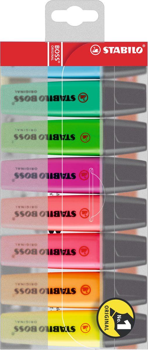 Stabilo Набор маркеров Boss Original 8 цветовSMA510-V8-ETЛегендарный Stabilo Boss Original – № 1 в Европе среди текстовыделителей!Превосходство по качеству:Корпус: полипропилен (предотвращает высыхание чернил)Наконечник: фетр (оптимальное соотношение мягкости-жесткости, устойчивость к деформации, равномерная подача чернил, аккуратный внешний вид)Не высыхают без колпачка 4 часаУниверсальные: для бумаги любой плотностиЧернила на водной основе (прозрачность, четкость, флуоресцентность, высокая светостойкость) Увеличенная длина линии (большой объем чернил, высокое качество красителя, равномерность подачи чернил) Минимальный гарантированный срок годности – 3 года.
