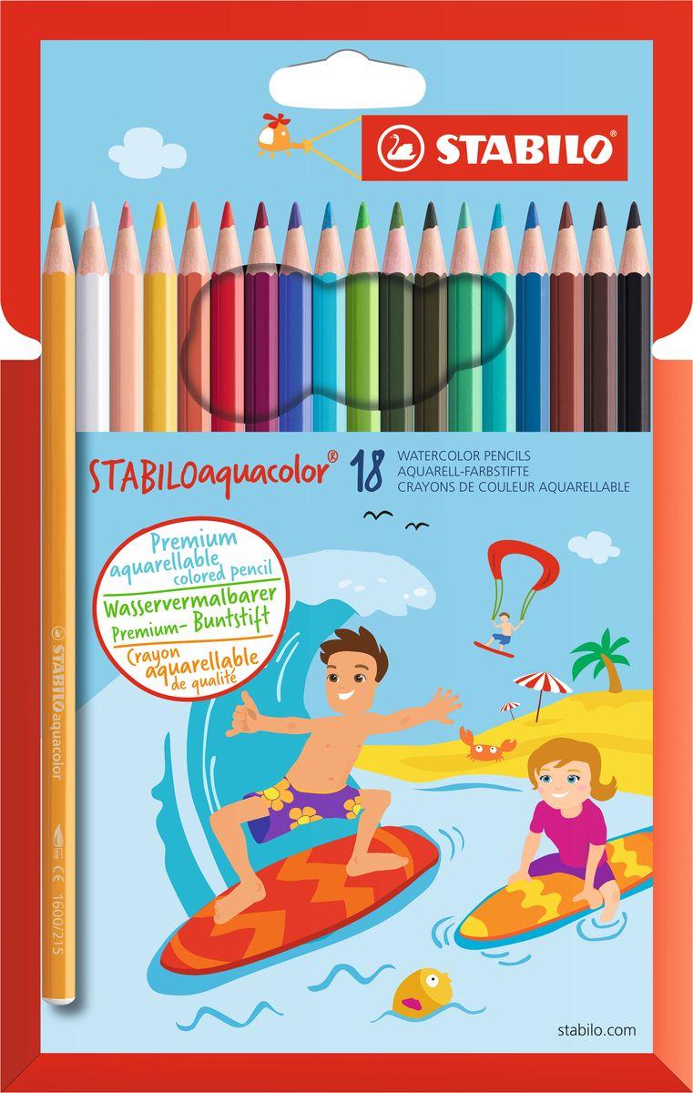 Stabilo Набор цветных карандашей Aquacolor 18 цветов72523WDДля создания рисунков с эффектом акварельных красок, надо растушевать рисунок кистью с водой или увлажнить бумагу перед рисованием. Идеально подходит для рисования в качестве классического цветного карандаша благодаря насыщенным цветам и мягкому грифелю, обеспечивающему легкость нанесения и отличную смешиваемость цветов. Stabilo aquacolor в наборах 12, 18, 24 и 36 цветов в картонной упаковке.