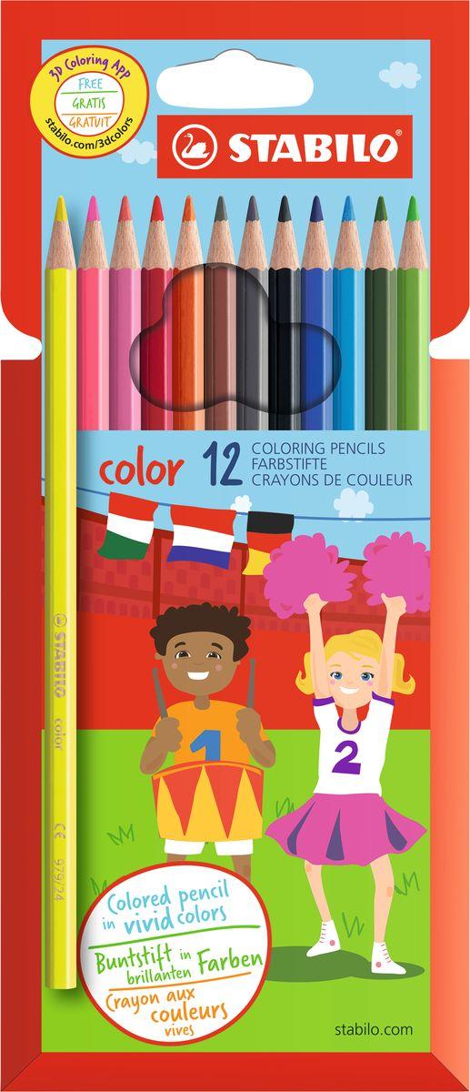 Stabilo Набор цветных карандашей Color 12 цветов72523WDЦветные карандаши серии Color обеспечивают легкую смешиваемость красок и мягкие, однородные по цвету линии. Высокая степень пигментации гарантирует особую яркость цвета, исключительную покрывающую способность и высокую устойчивость к свету. В наборе есть 2 флуоресцентных карандаша, которые добавляют больше возможностей для воображения юному художнику. В состав грифелей входит пчелиный воск, благодаря чему грифели легко рисуют на бумаге, не царапая ее и не крошась, и обладают повышенной устойчивостью к нагрузкам. Карандаши не ломаются при рисовании и затачивании. Корпус карандашей покрыт лаком на водной основе, легко и аккуратно затачивается.