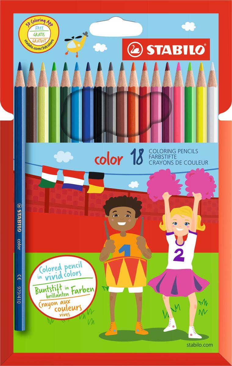 Stabilo Набор цветных карандашей Color 18 цветовPP-220Цветные карандаши серии Color обеспечивают легкую смешиваемость красок и мягкие, однородные по цвету линии. Высокая степень пигментации гарантирует особую яркость цвета, исключительную покрывающую способность и высокую устойчивость к свету. В наборе есть 3 флуоресцентных карандаша, которые добавляют больше возможностей для воображения юному художнику. В состав грифелей входит пчелиный воск, благодаря чему грифели легко рисуют на бумаге, не царапая ее и не крошась, и обладают повышенной устойчивостью к нагрузкам. Карандаши не ломаются при рисовании и затачивании. Корпус карандашей покрыт лаком на водной основе, легко и аккуратно затачивается.