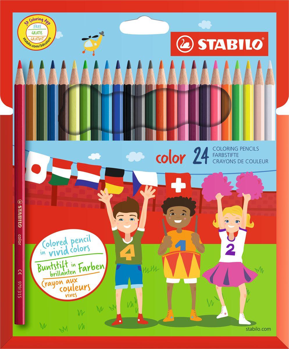 Stabilo Набор цветных карандашей Color 24 цветаPP-220Цветные карандаши серии Color обеспечивают легкую смешиваемость красок и мягкие, однородные по цвету линии. Высокая степень пигментации гарантирует особую яркость цвета, исключительную покрывающую способность и высокую устойчивость к свету. В наборе есть 4 флуоресцентных карандаша, которые добавляют больше возможностей для воображения юному художнику. В состав грифелей входит пчелиный воск, благодаря чему грифели легко рисуют на бумаге, не царапая ее и не крошась, и обладают повышенной устойчивостью к нагрузкам. Карандаши не ломаются при рисовании и затачивании. Корпус карандашей покрыт лаком на водной основе, легко и аккуратно затачивается.