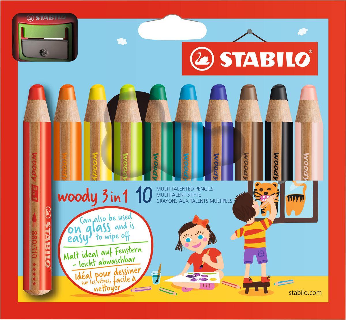 Stabilo Набор цветных карандашей Woody 3in1 10 цветов + точилка610842Супертолстый цветной карандаш, акварель и восковой мелок в одном. Это уникальные карандаши, сочетающие в себе возможности цветных карандашей, акварельных красок и восковых мелков. Пишут практически на всех гладких поверхностях, сключая сткло! Обеспечивают великолепный результат на темной бумаге благодаря исключительной яркости и интенсивности цвета. Великолепные акварельные качества. Очень прочный грифель диаметром 10 см для мягких штрихов. Цвет корпуса карандаша соответсвует цвету грифеля. Набор из 10 карандашей ПЛЮС точилка для толстых карандашей.