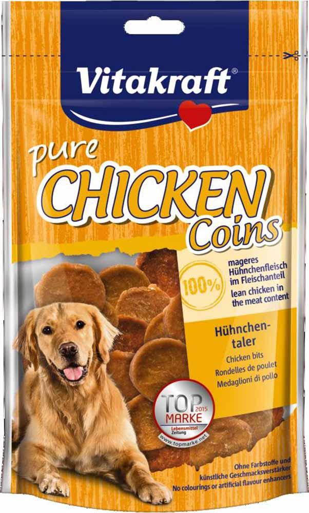 Лакомство Vitakraft, для собак, медальоны куриные, 80 г0120710Лакомство для собак в форме медальонов из натурального куриного мяса прекрасно подходит в качестве дополнения к основному рациону.