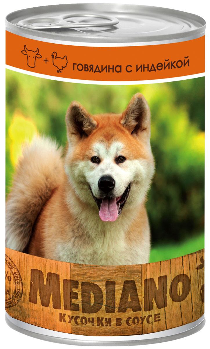 Консервы Vita Pro Mediano, для собак, с говядиной и индейкой, 405 г0120710Полнорационный корм для средних пород собак в виде мясных кусочков в соусе. Не содержит ГМО, усилителей вкуса, ароматизаторов и красителей.