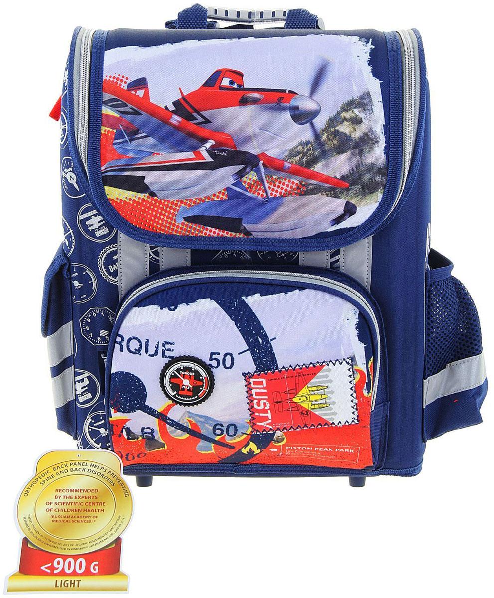 Disney Ранец школьный Planes цвет прозрачный синий72523WDРанец, или портфель, — это жёсткая ученическая сумка, которая является традиционным атрибутом школьного «снаряжения».Характеристики идеального современного ранца для школьника выглядят так:жёсткие корпус и спинка;регулируемые широкие мягкие лямки;наличие светоотражателей;масса — 600?800 г;мягкие подушечки на спинке и сетчатая, «дышащая» задняя сторона.Ранец стандарт раскладной Disney Planes 36*26*17 EVA-спинкой, для мальчика, синий — это очень практичное и качественное текстильное изделие, которое отвечает всем перечисленным требованиям.Жёсткий корпус защитит ребёнка и содержимое: он не позволит книгам и учебникам «втыкаться» в спину и сбережёт ранец, если ученик его уронит. А смягчающие элементы (поролон и сетка) сделают процесс ношения этого изделия комфортным.