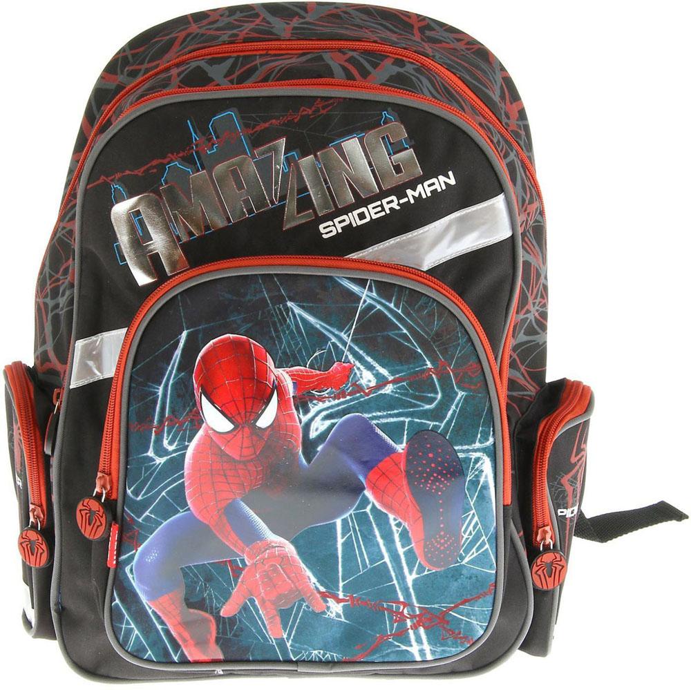 Disney Рюкзак Spiderman цвет синий черныйSMA510-V8-ETСпециально для любителей супер-героев и романтичных принцесс на нашем сайте вы можете заказать рюкзаки с изображением персонажей из диснеевских мультфильмов.Небольшой вес рюкзака и его ортопедическая конструкция станут значительным подспорьем мамам и папам при выборе первого школьного рюкзака для любимого малыша. Благодаря жесткому каркасу, которым оснащен аксессуар, его содержимое удобно разместится внутри и не помешает ребенку при ходьбе.Светоотражающие элементы на регулирующихся плечевых ремнях предупредят автолюбителей о приближении ребенка, а ручка, расположенная сверху рюкзака, обеспечит комфортную переноску сумки.