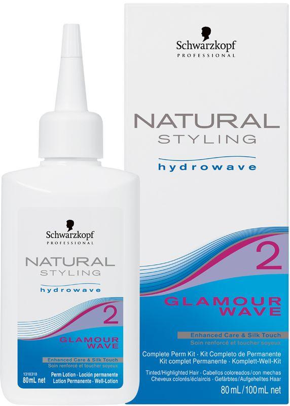 Natural Styling Glamour Комплект для химической завивки 2, 180 мл3078НС Гламур комплект для химической завивки 2 для окрашенных; осветленных и пористых волос; состоит из лосьона и нейтрализатора.