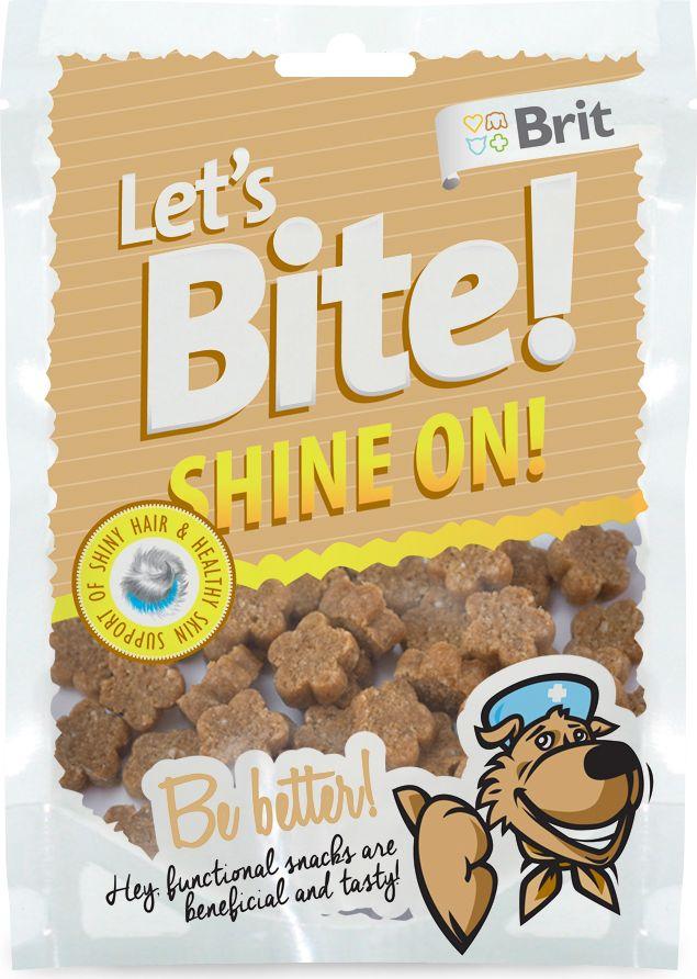 Лакомство для собак Brit Lets Bite! Shine On / Сияние, 150 г0120710Лакомство Brit Lets Bite Сияние для собак.Блестящая шерсть и здоровая кожа – функциональное лакомство для собак. Вкусно и полезно.Состав: рис, лосось, жидкий крахмал, коллаген, рыбий жир лососевых рыб, натуральные ароматизаторы, сушеные бархатцы (15 г/кг), сушеный тысячелистник (5 г/кг).Аналитический состав: сырой протеин 16%, сырой жир 7%, сырая зола 3,5%, сырая клетчатка 2%, влага 17%.Питательные добавки на 1 кг: витамин C (3a312) 500 мг/кг.Вес: 150 г