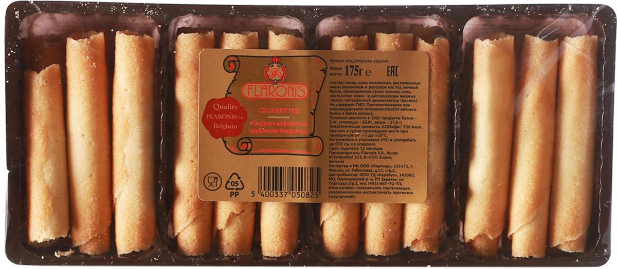 Flaronis сладкие вафельные трубочки, 175 г0120710Нежные и хрустящие вафельные трубочки.