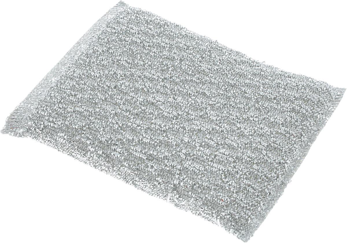 Губка для мытья посуды Home Queen, с металлизированной нитью, цвет: серебристый, 120 х 80 х 25 мм10503Губка Home Queen изготовлена из поролона в чехле из полипропиленовой металлизированной нити. Предназначена для мытья посуды и очистки сильно загрязненных кухонных поверхностей. Позволяет экономить моющее средство, благодаря структуре поролона, который дает много пены при использовании.