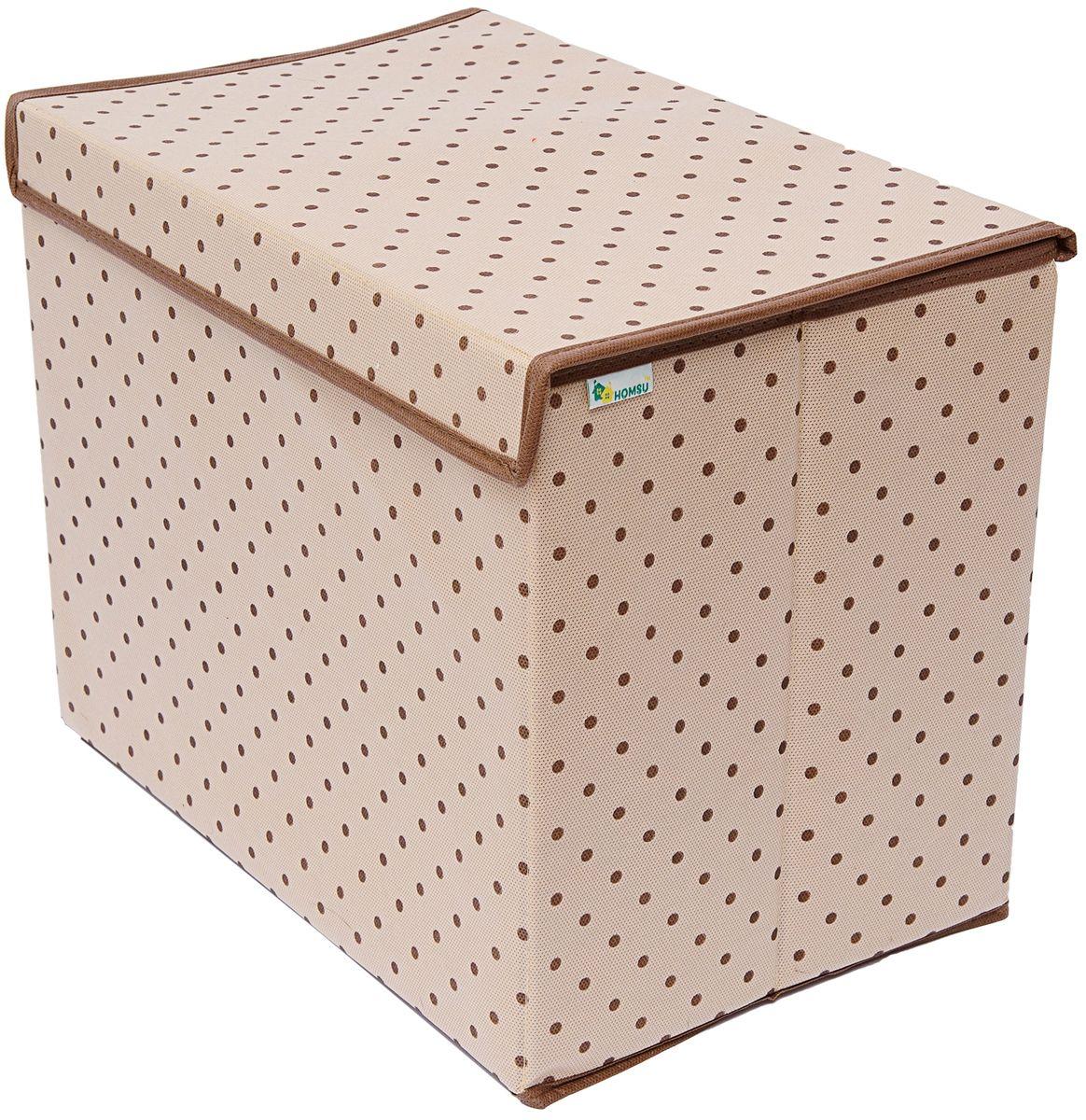 Коробка для хранения вещей Homsu, 38 x 25 x 30 смUP210DFУниверсальная коробка для хранения вещей с крышкой. Идеально подходит для хранения одежды, полотенец и других домашних принадлежностей. Выполнена в классическом дизайне, благодаря чему гармонично впишется в любой интерьер.