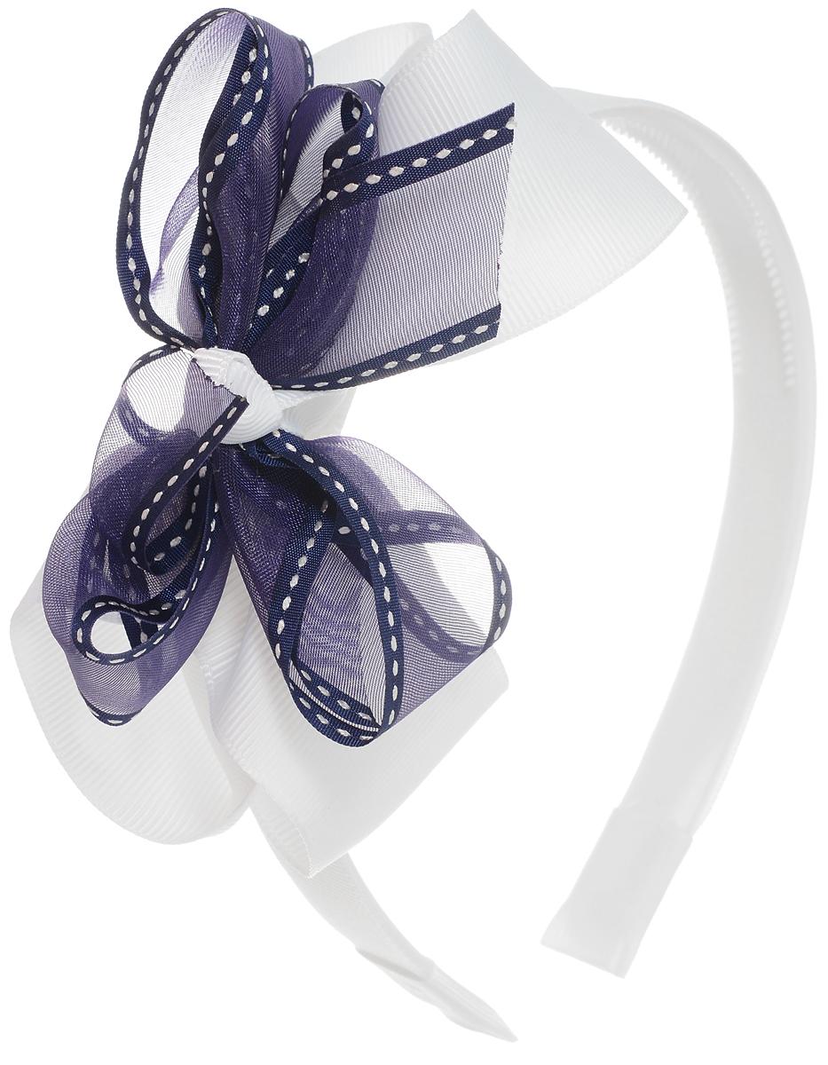 Babys Joy Ободок для волос цвет белый синийCF5512F4Ободок для волос Babys Joy выполнен из пластика с зубчиками и обтянут лентой белого цвета. Ободок оформлен декоративным элементом в виде цветка из лент белого и синего цвета. Ободок позволяет не только убрать непослушные волосы со лба, но и придать образу романтичности и очарования.