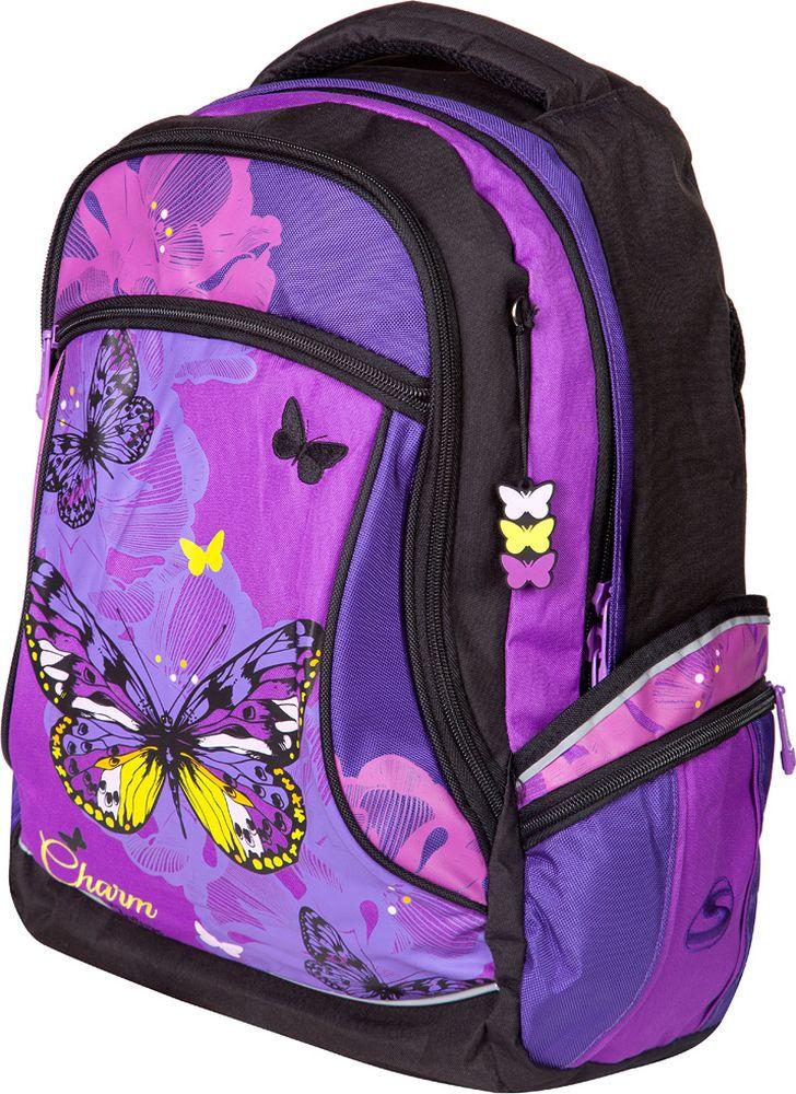 Steiner Ранец для девочки Бабочка цвет фиолетовый72523WDСтильный школьный фиолетовый рюкзак для девочки подростка с ярким принтом.Характеристики: яркий и насыщенный принт; современный дизайн; анатомическая, дышащая спинка; плотные широкие легко регулируемые лямки под рост позволяют равномерно распределять нагрузку на спину; нагрудный ремень для распределения нагрузки на спину; влагоизоляционный материал не даст промокнуть ранцу; уплотненная ручка; качественные молнии; легко моющийся долговечный материал; одно большое отделение с защитой от попадания дождя с жесткими вставками для хранения тетрадей, карман для очков; два больших торцевых кармана на молнии, в одном - органайзер; по два боковых кармана с каждой стороны: большой - на липучке, маленький на молнии; светоотражающие элементы обеспечат безопасность ребенку в темное время суток; скоба для крепления брелока в передней части рюкзака.